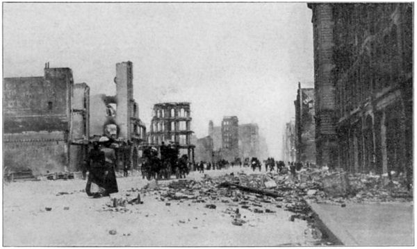 The aftermath of the Earthquake, Looking East on Market Street