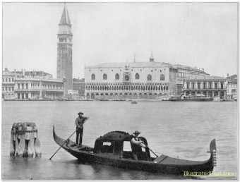 Gondoliers Rowing A Gondola In Front of St. Mark's Square, Venice, Italy
