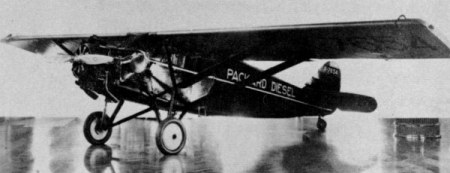 Stinson SM-1DX Detroiter. This airplane, powered with original Packard DR-980 diesel engine, made the world's first diesel-powered flight on September 19, 1928.