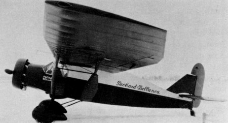 "Packard-Bellanca ""Pacemaker."" This airplane, powered by a Packard DR-980 diesel, achieved the world's record for nonrefueling, heavier-than-air aircraft duration flight. The flight lasted 84 hours, 33 minutes, 1¼ seconds."
