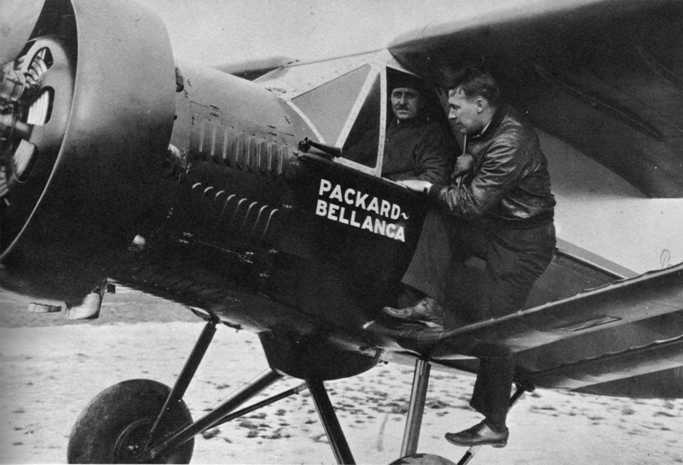 Walter E. Lees, Packard chief test pilot (in cabin) and Frederic A. Brossy, Packard test pilot, before taking off on their world's record, nonrefueling, heavier-than-air aircraft duration flight