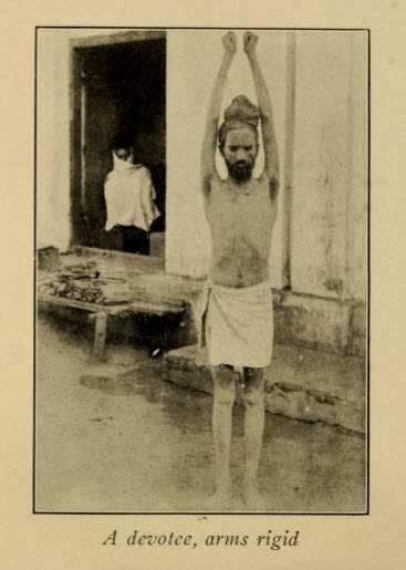 Hindu Devotee With Arms Rigid