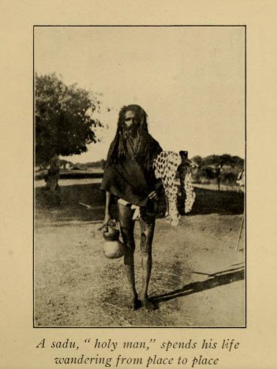 A wandering holy man: note the leopard skin.